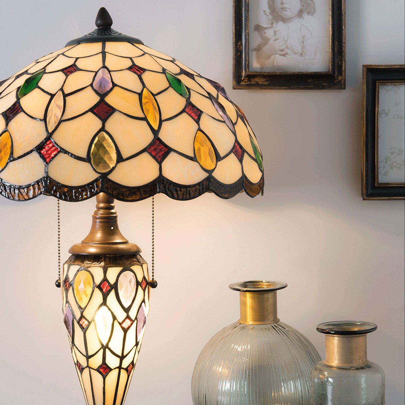 5182 bordlampe med fargerik Tiffany-glasskjerm