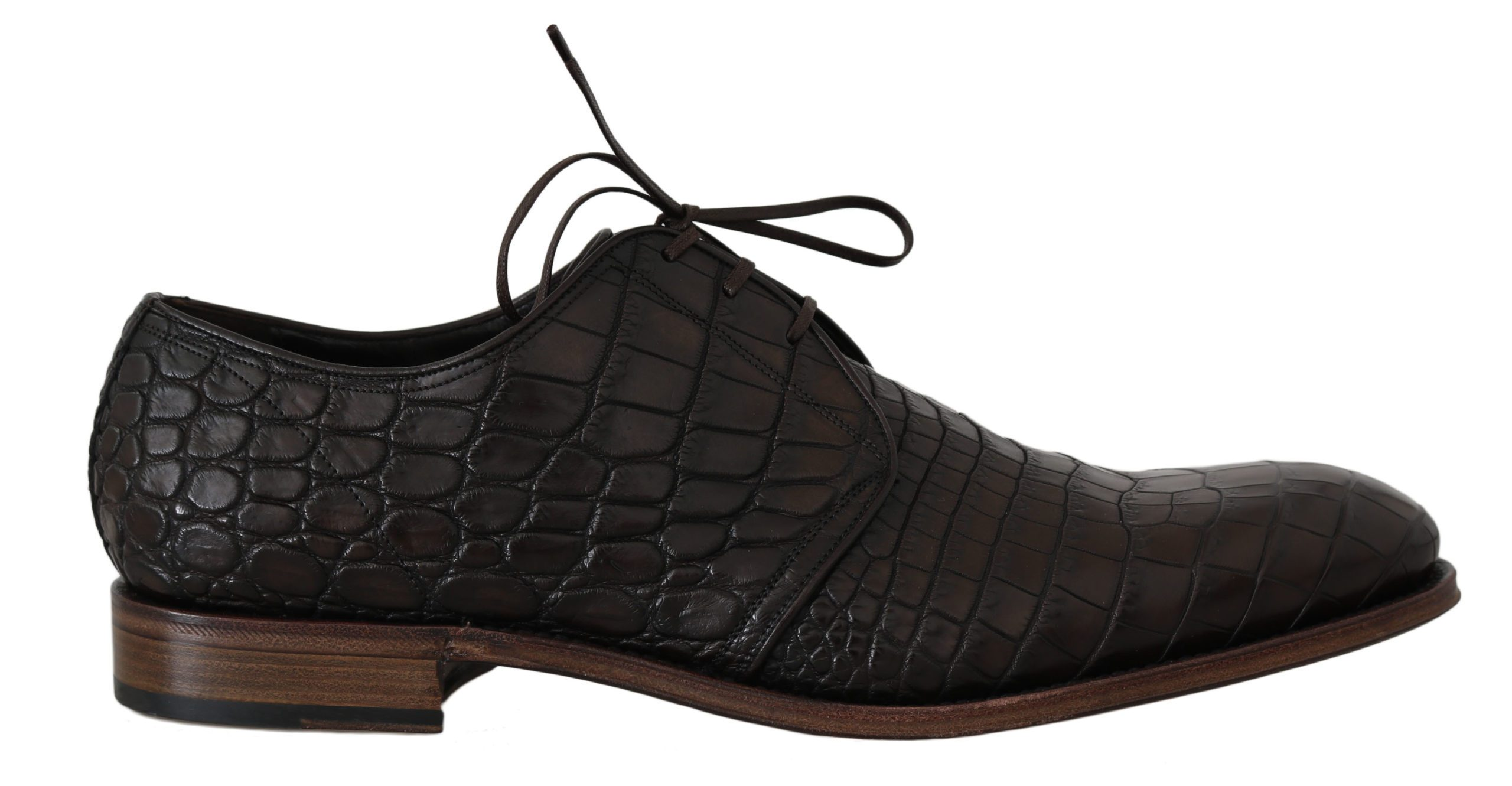 Dolce & Gabbana Men's Patterned Leather Derby Shoes Brown MV2310 - EU44/US11