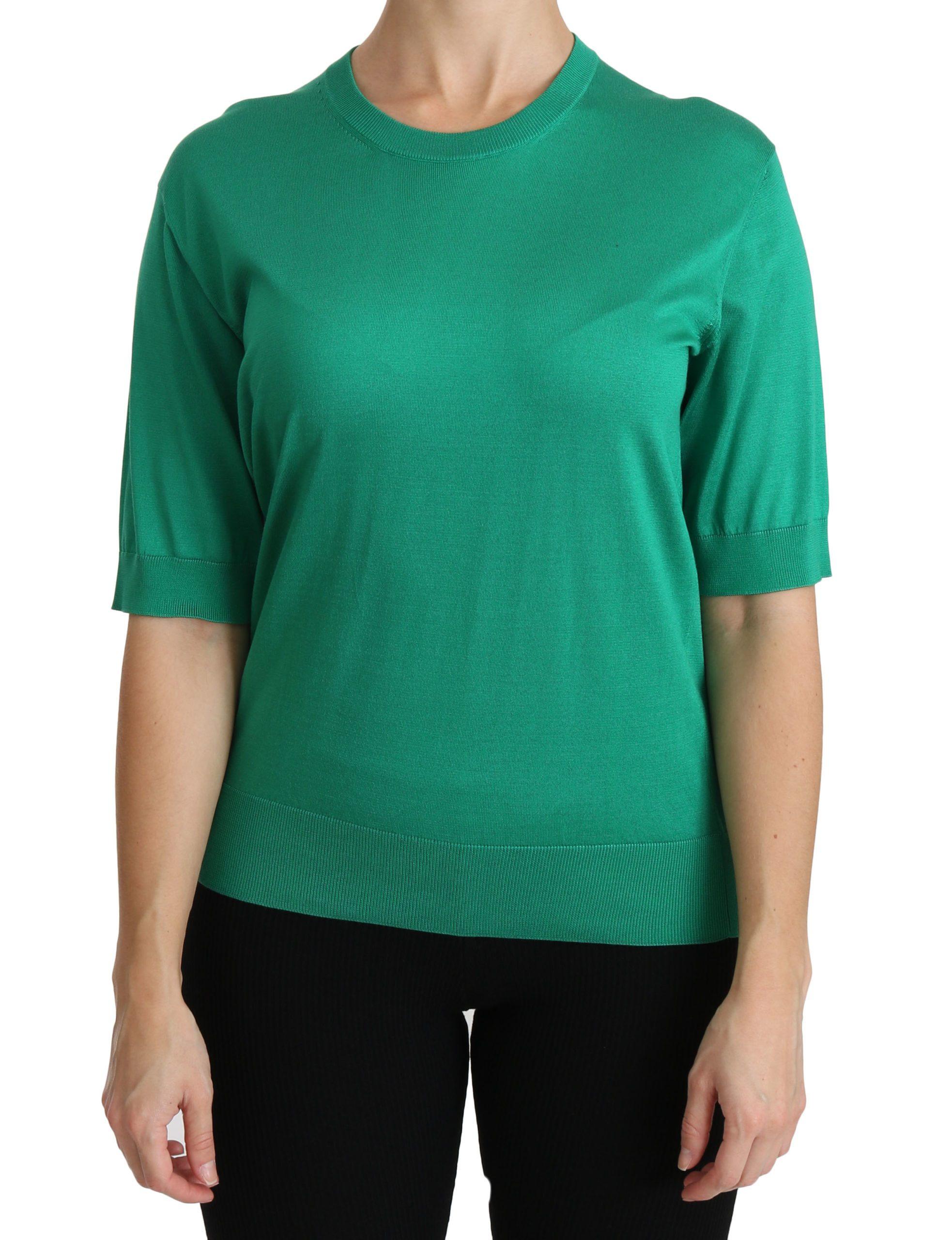 Dolce & Gabbana Women's Crewneck Short Sleeve Top Green TSH4249 - IT40|S