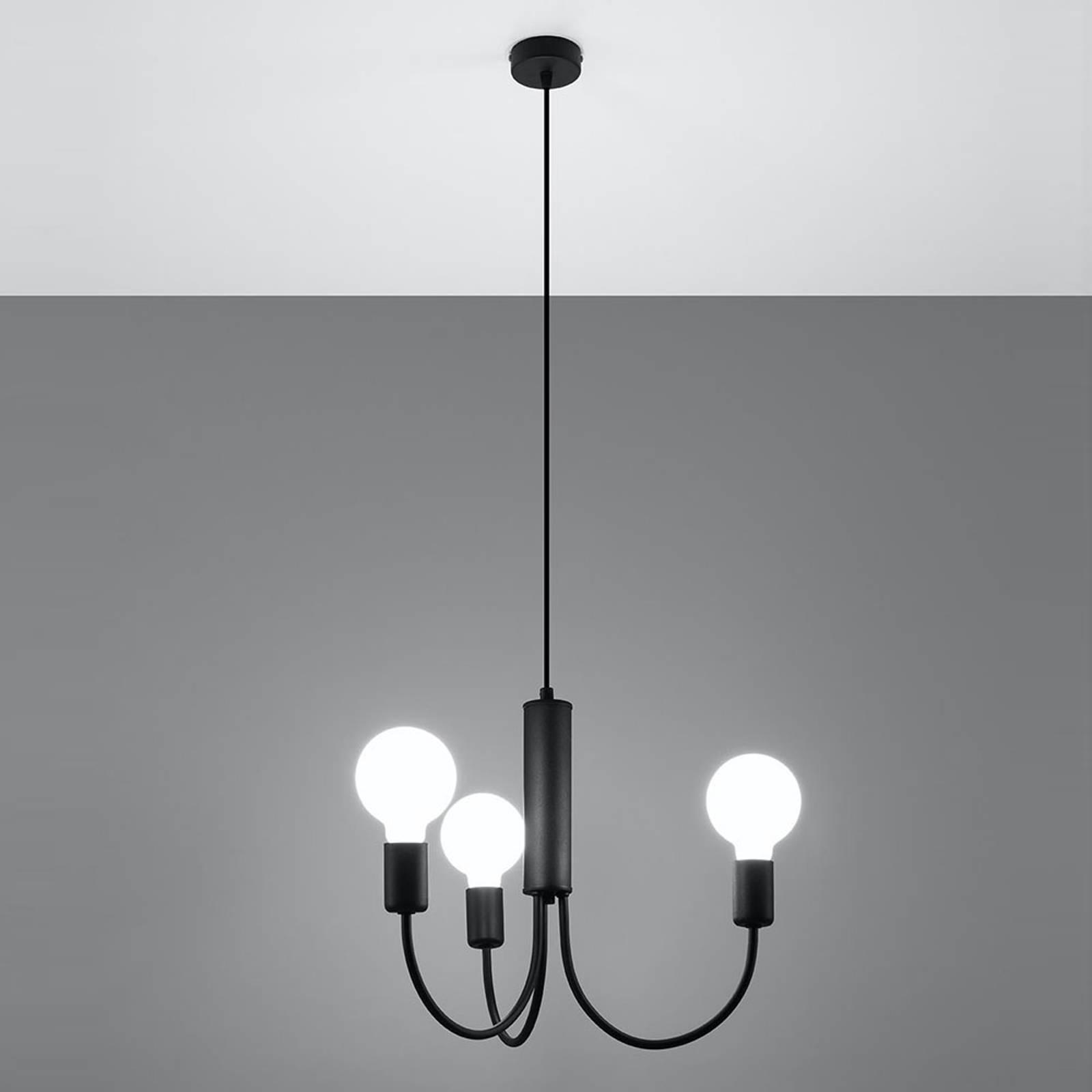 Riippuvalo Frigg, musta, 3-lamppuinen
