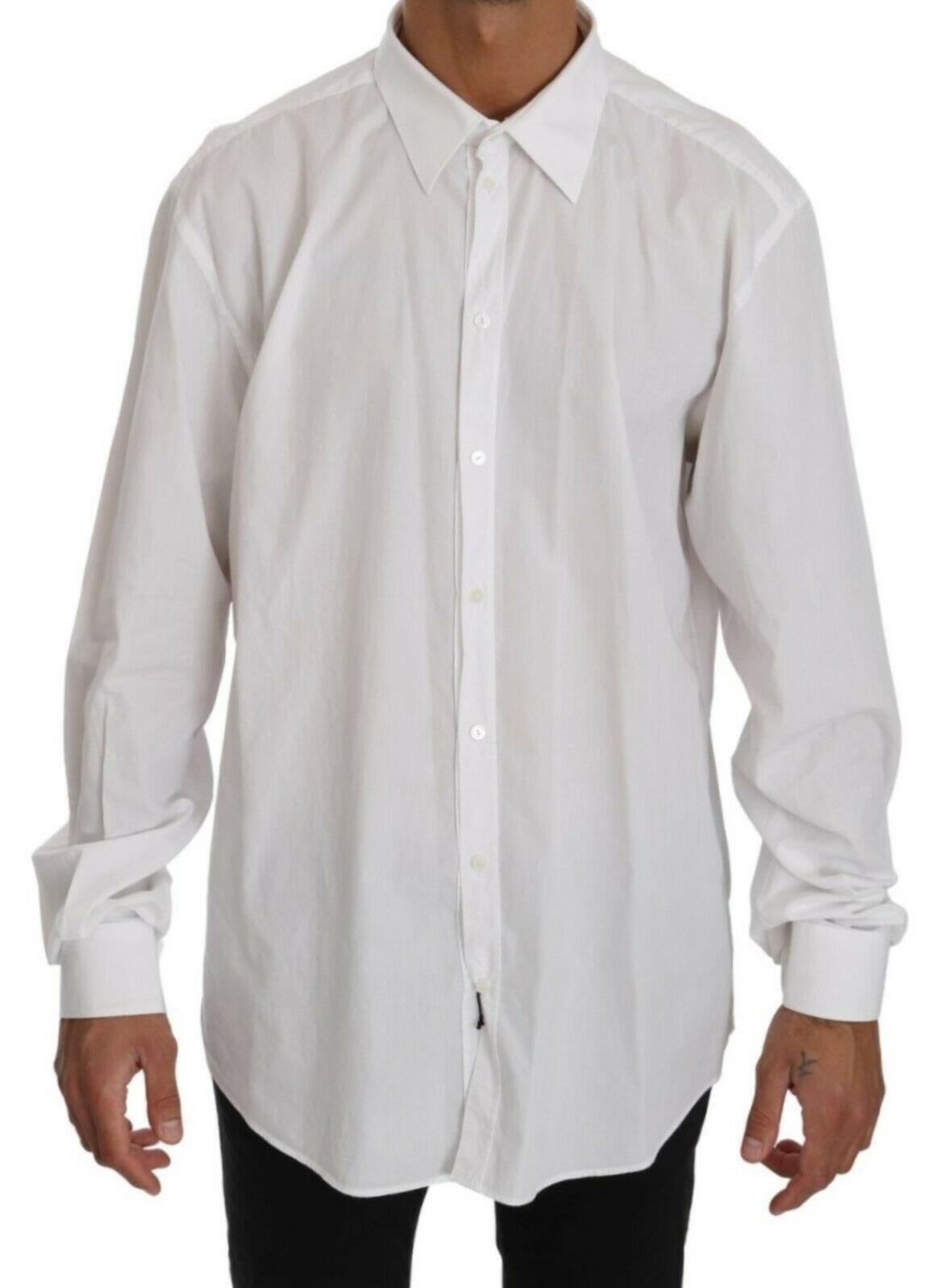 Dolce & Gabbana Men's Cotton Dress Formal Top Shirt White TSH4075 - 44   3XL