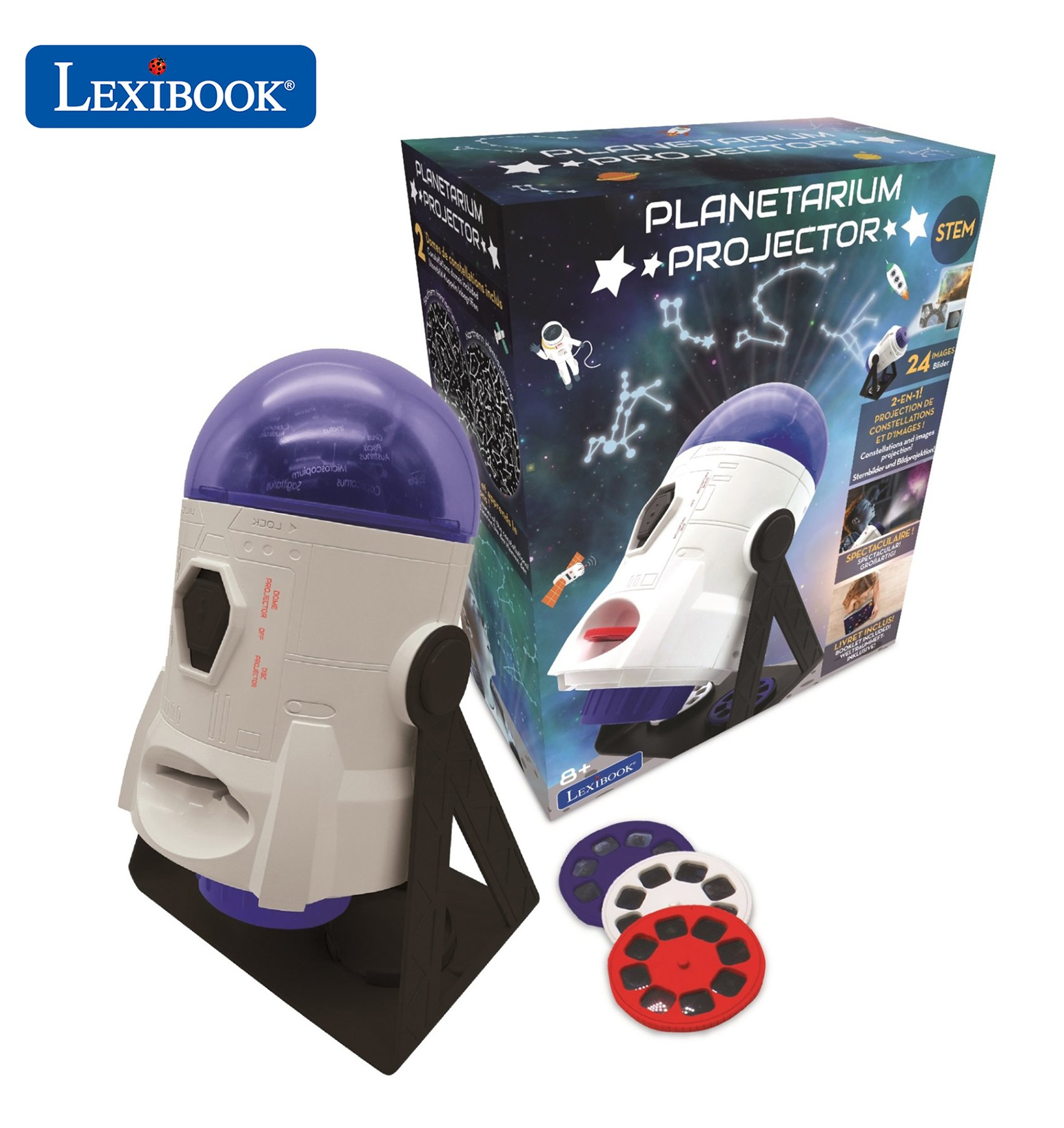 Lexibook - 360° Planetarium Projector incl 24 projecting pictures, map of constellations and educational booklet (NLJ180)