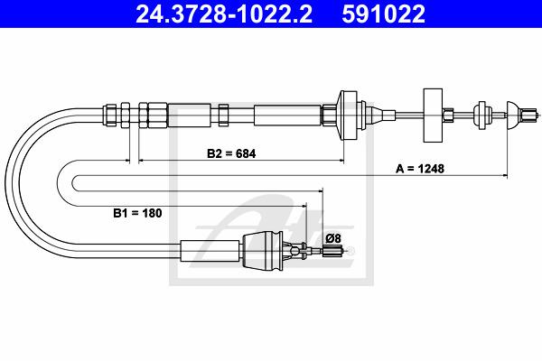 Kytkinvaijeri ATE 24.3728-1022.2