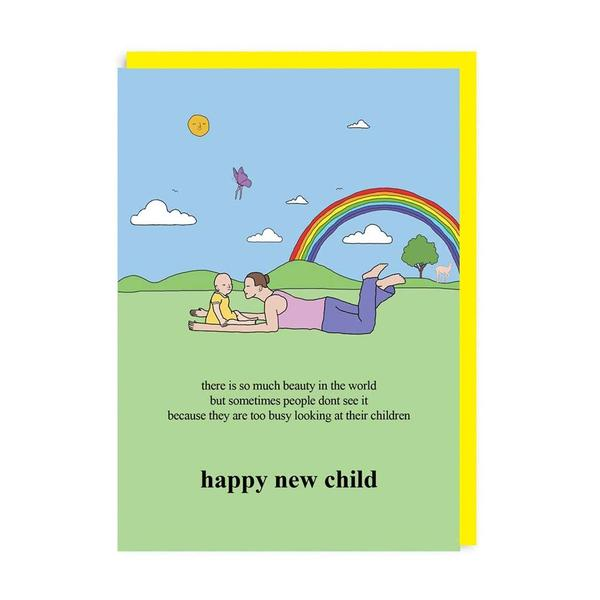 Happy New Child Rainbow Grass Greeting Card