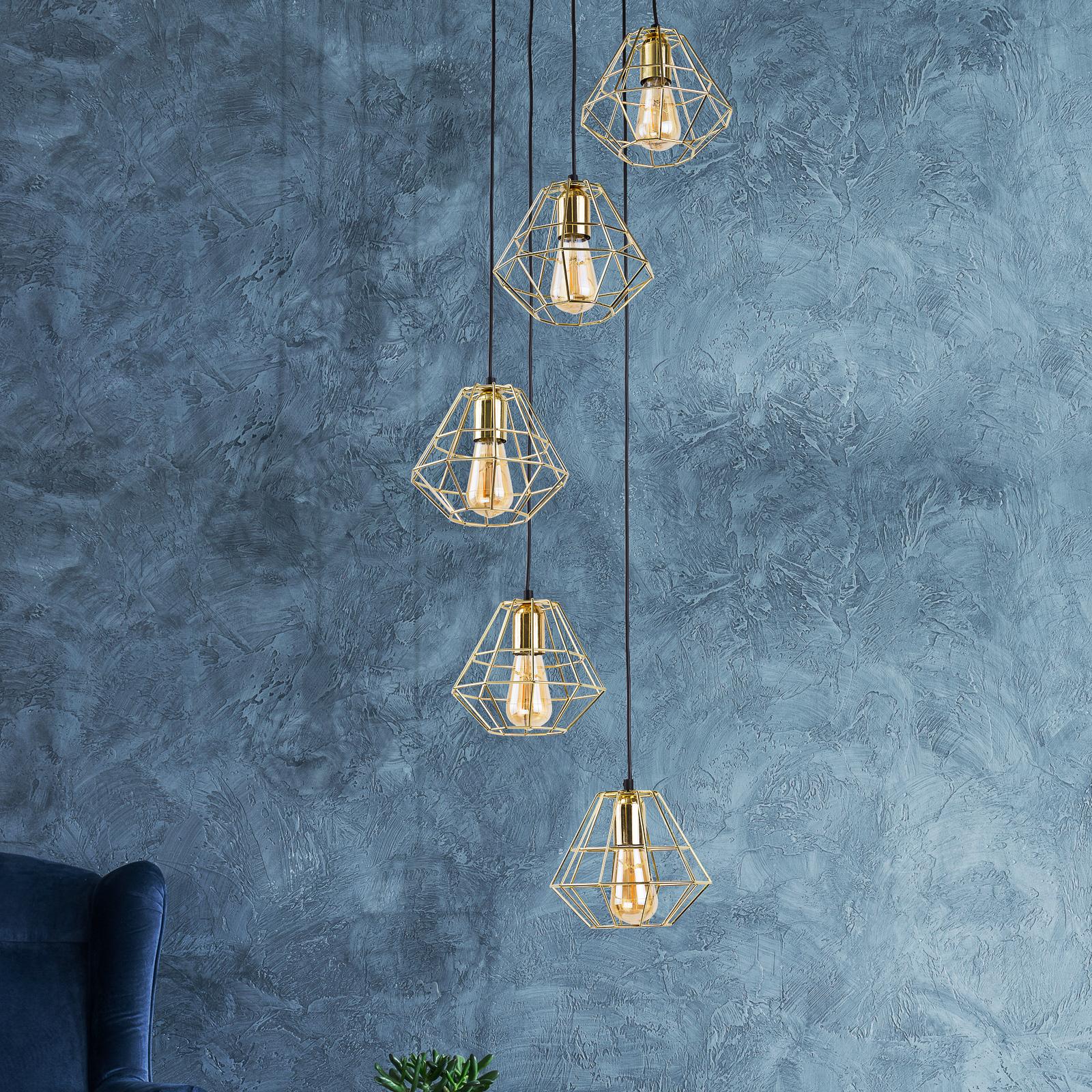 Riippuvalaisin Diamond, 5-lamp., kulta/musta