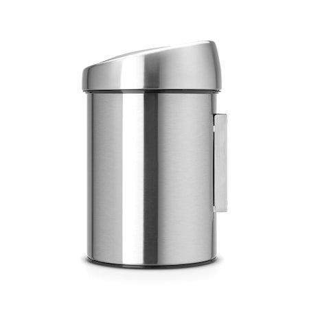 Touch Bin (til vegg), plastinnerbøtte 3 L Mattbørstet Stål