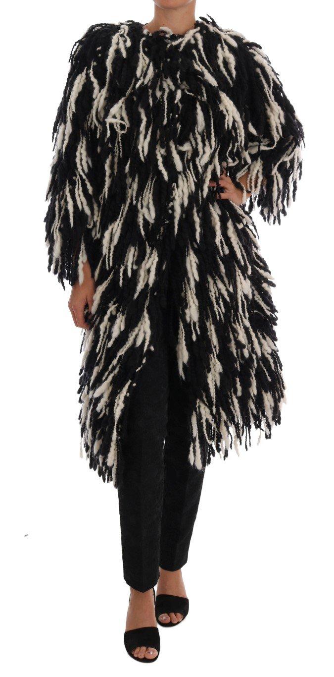 Dolce & Gabbana Women's Fringes Wool Coat Multicolor JKT1061 - IT36 | XS