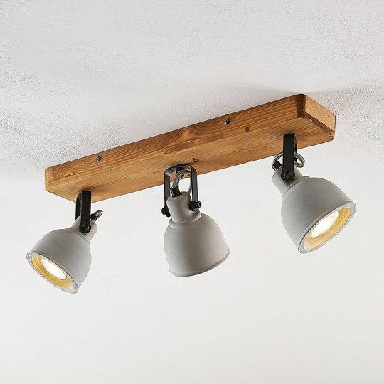 Lindby Mirka -LED-kattovalo, mäntypyy, 3-lamp.