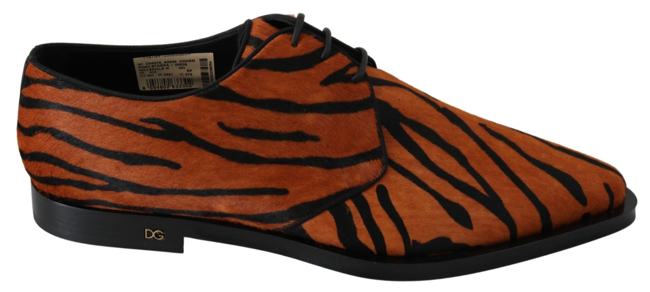 Orange Pony Hair Formal Dress Broque Shoes - EU41/US10.5
