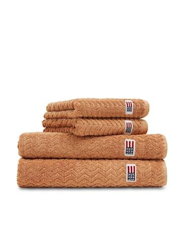 Cotton/Tencel Structured Terry Handduk Caramel 50x70cm