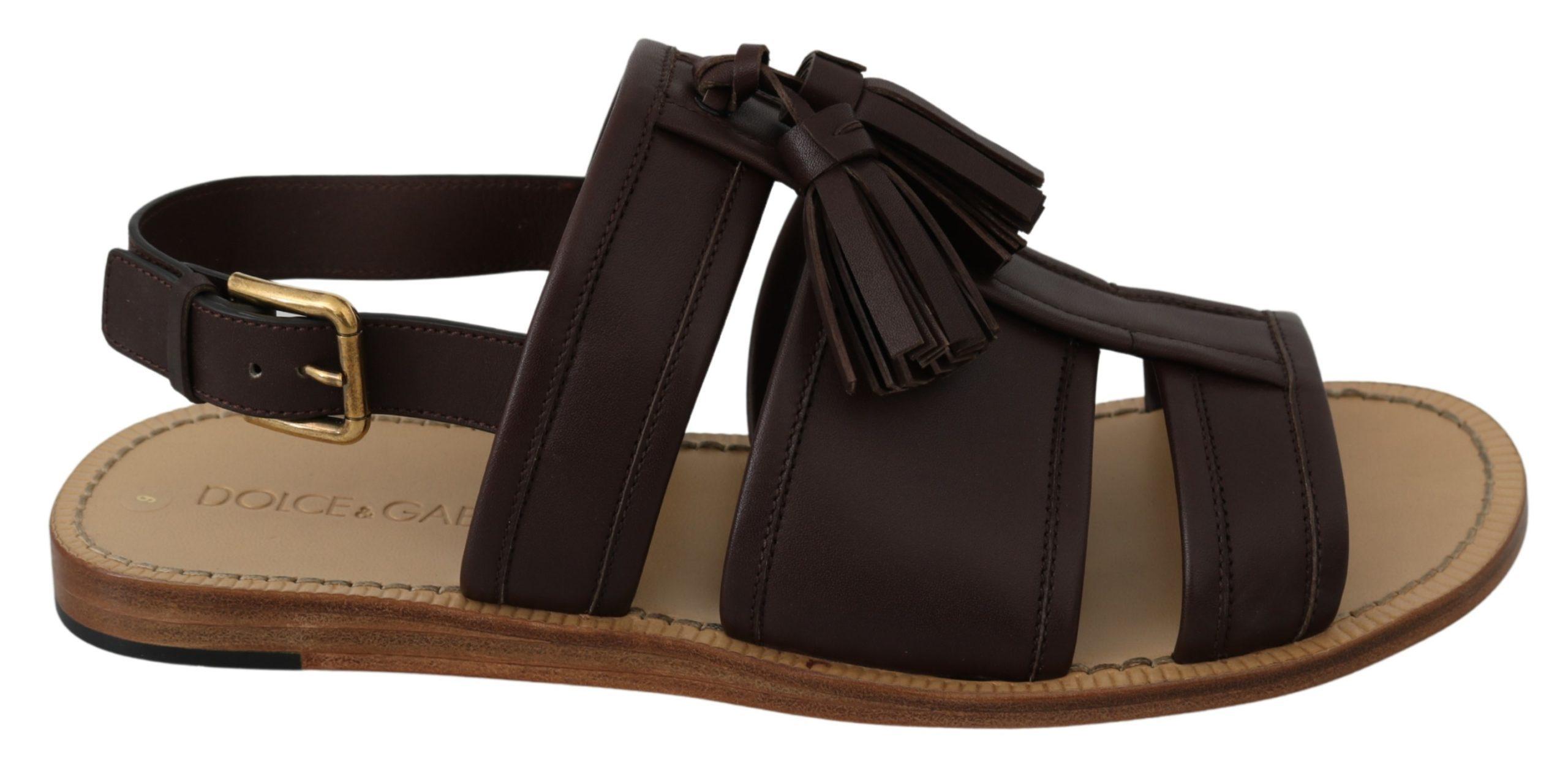 Dolce & Gabbana Men's Leather Buckle Sandal Brown MV3031 - EU43/US10