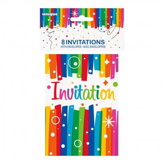 Inbjudningskort Födelsedag Regnbåge - 8-pack