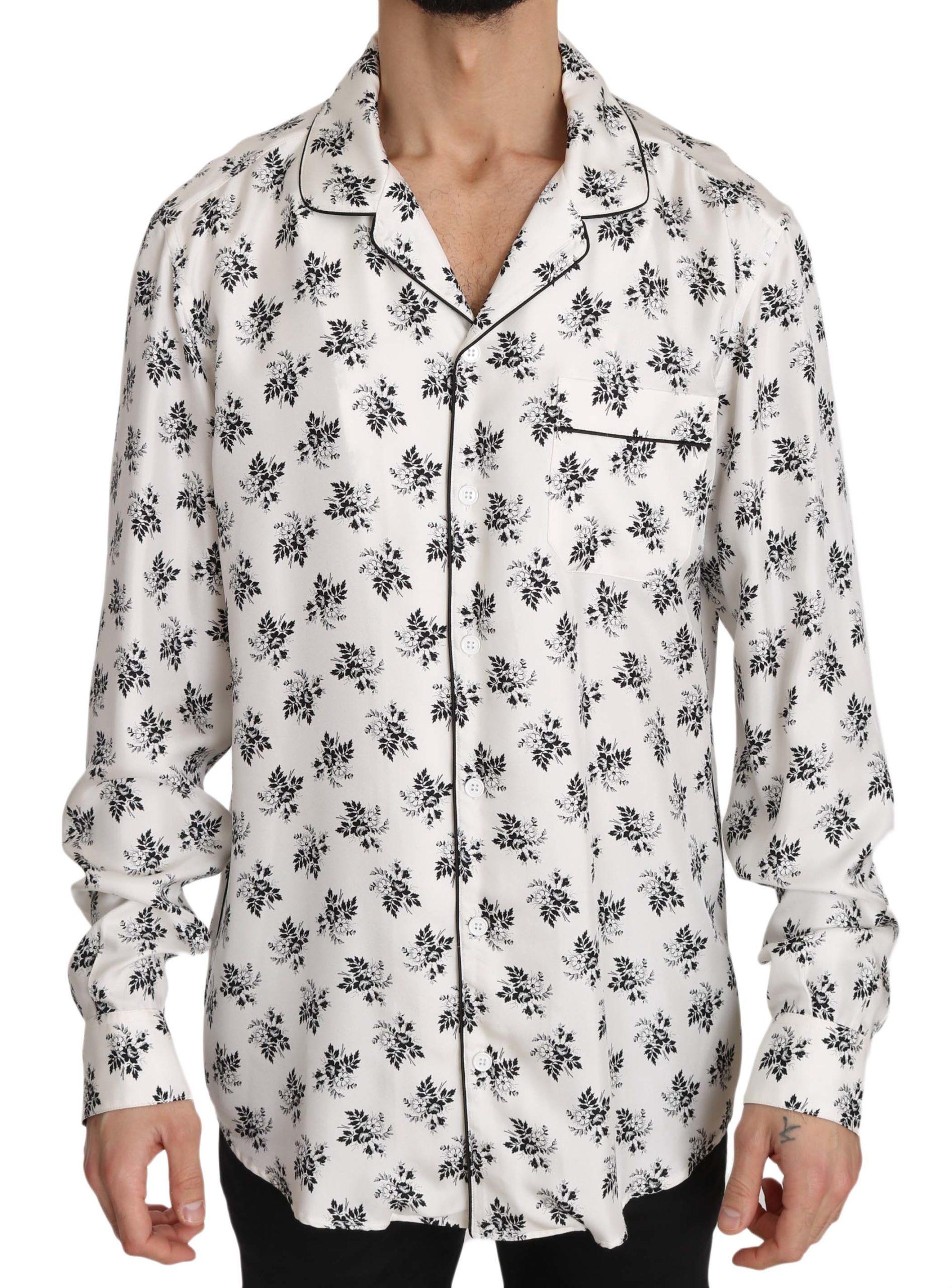 Dolce & Gabbana Men's SILK Floral Print Sleepwear Shirt White/Black TSH3364 - IT4| s