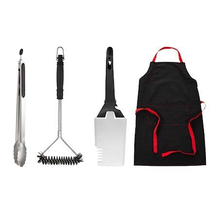 BBQ Grillsett 4 deler, forkle, klype, grillspade, børste