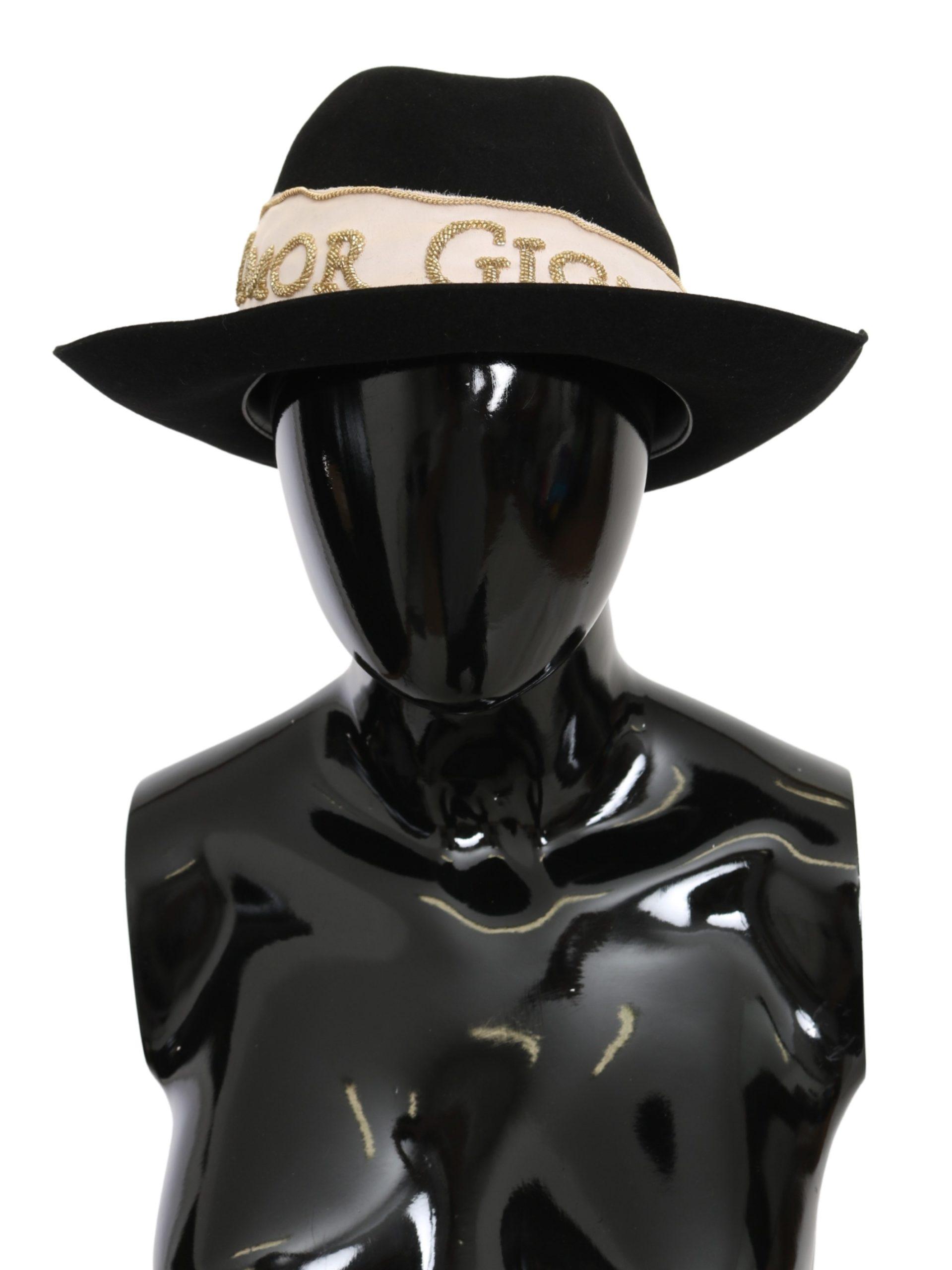 Dolce & Gabbana Men's Lapin Amor Gignit Fedora Hat Black HAT9101 - 57 cm|S