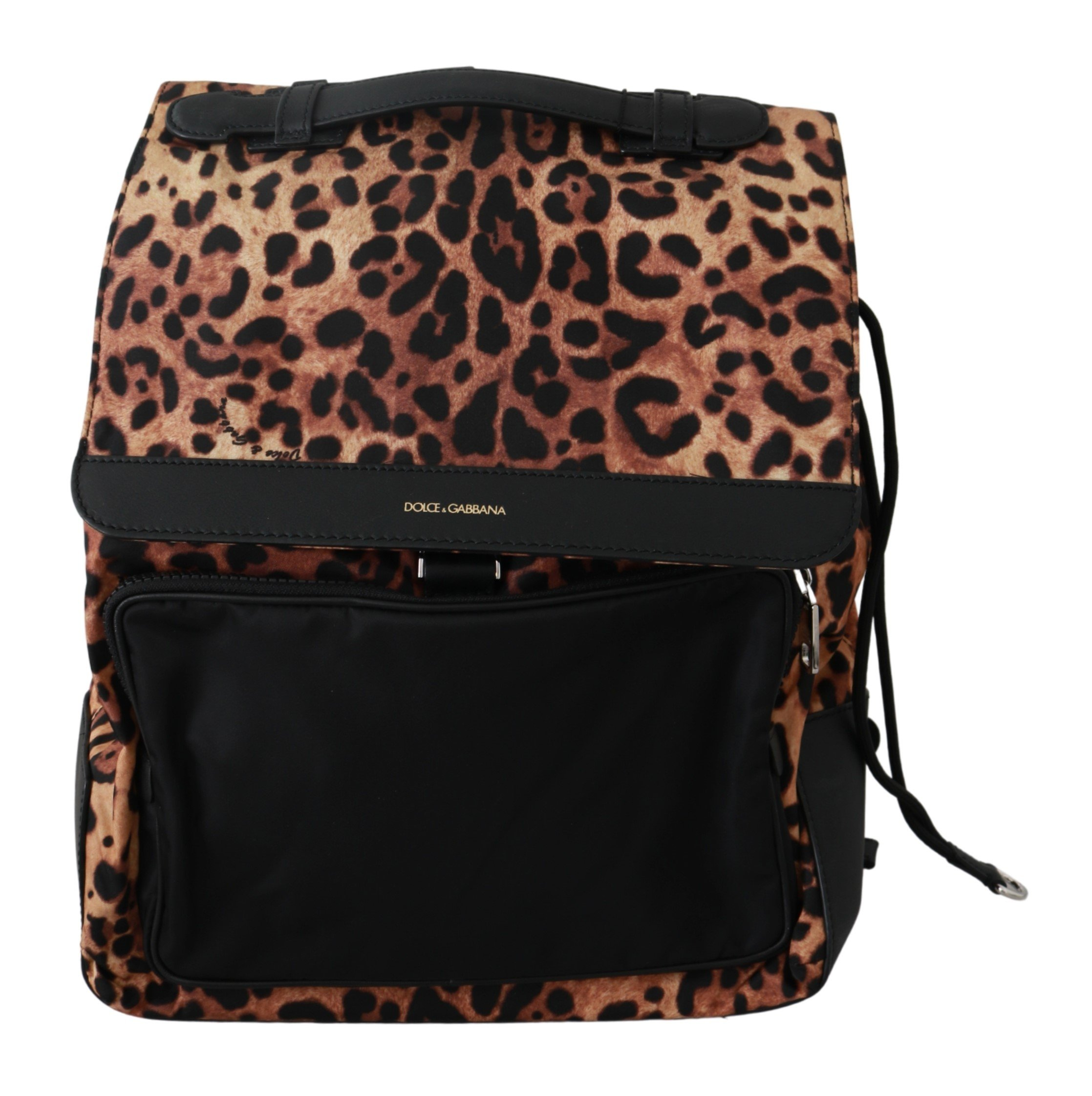 Dolce & Gabbana Men's Leopard Print School Leather Backpack Brown VAS9258