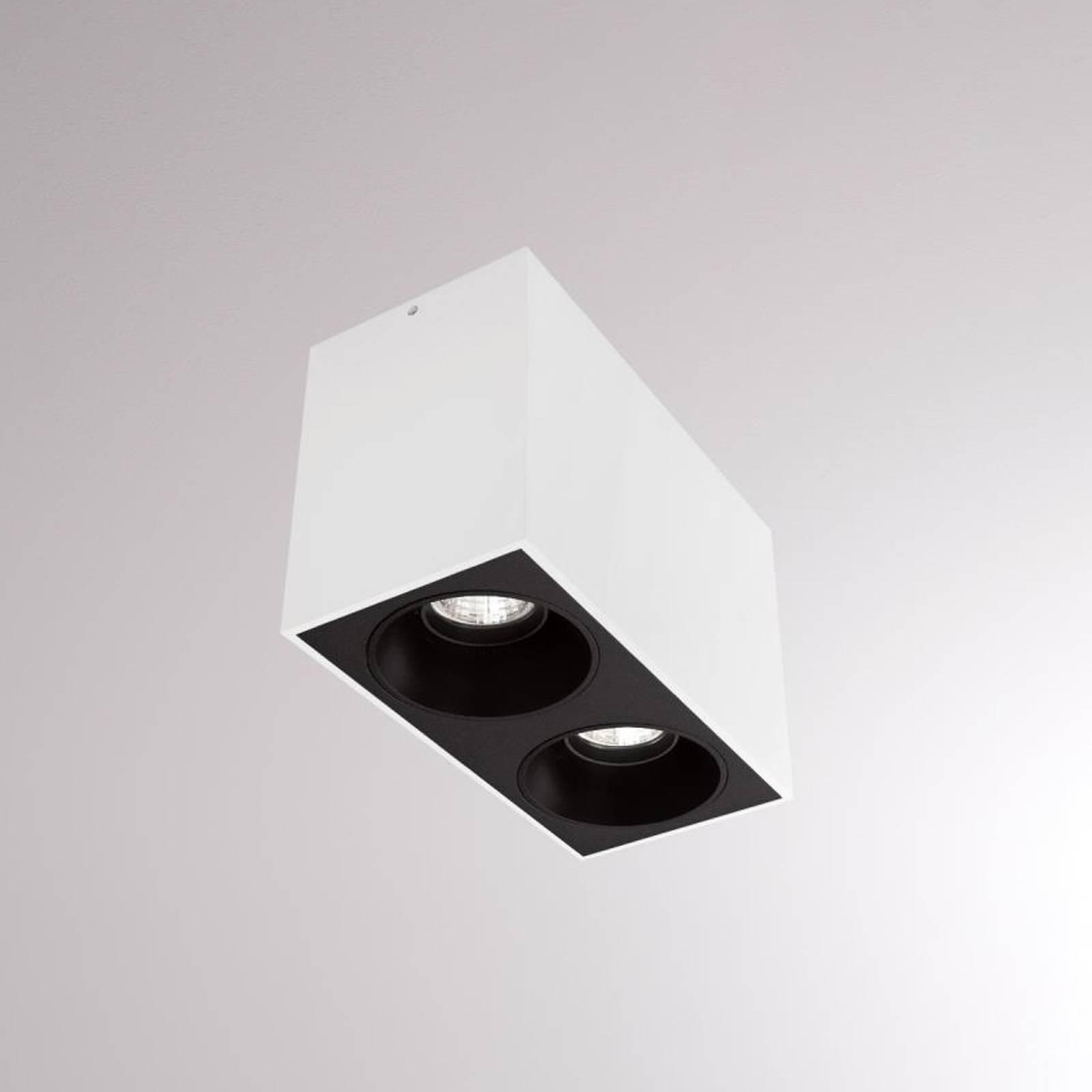 LOUM Atus Square -LED-kattovalo 2-lamp., valkoinen