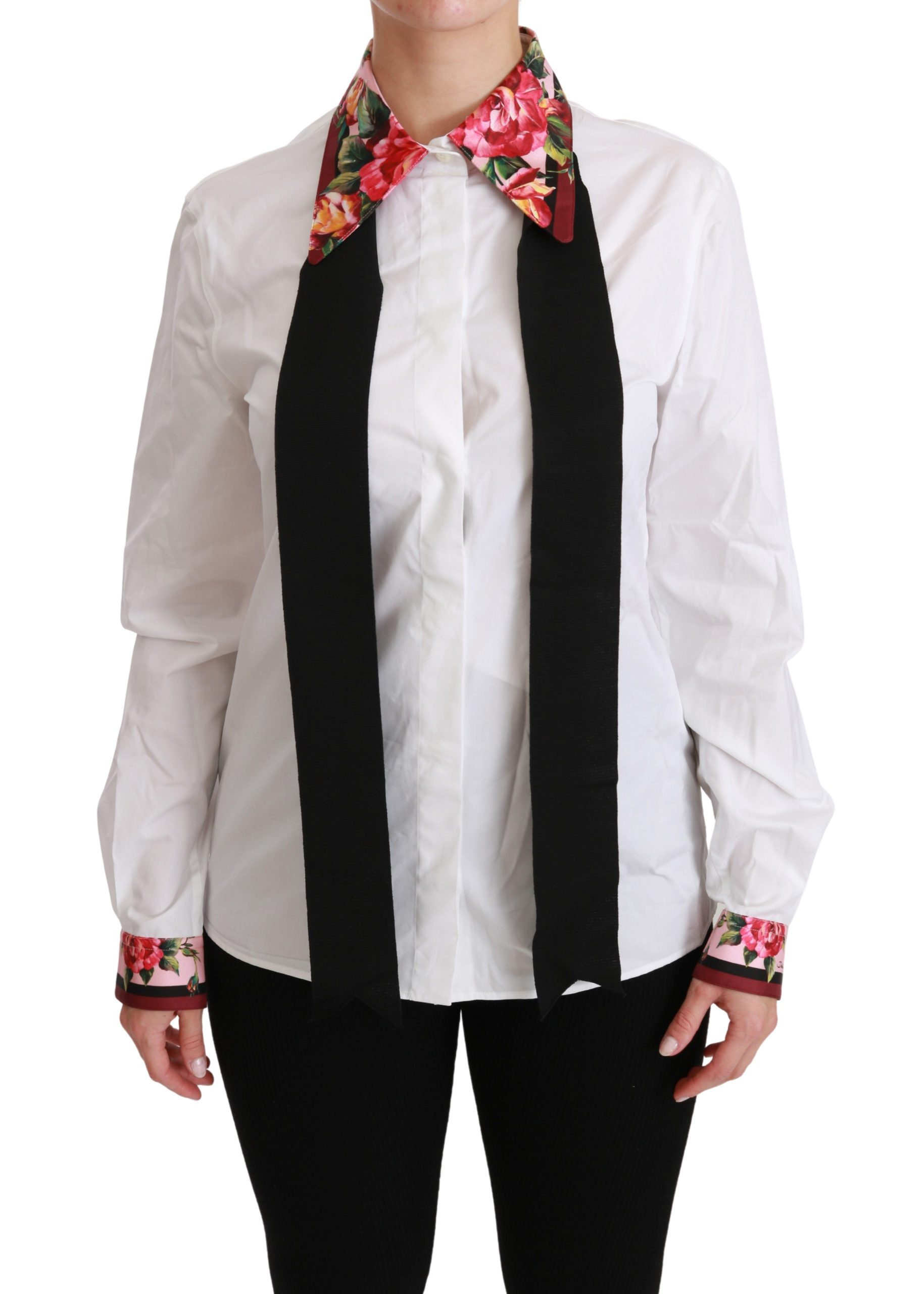Dolce & Gabbana Women's Floral LS Shirt White TSH4407 - IT42|M