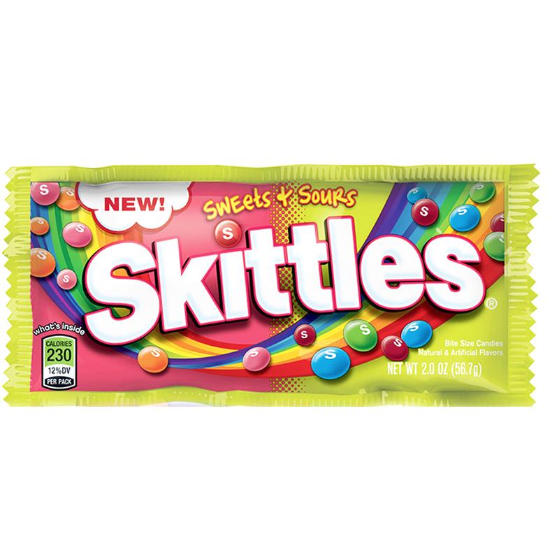 """Skittles """"Sweets & Sours"""" 56,7g - 62% rabatt"""