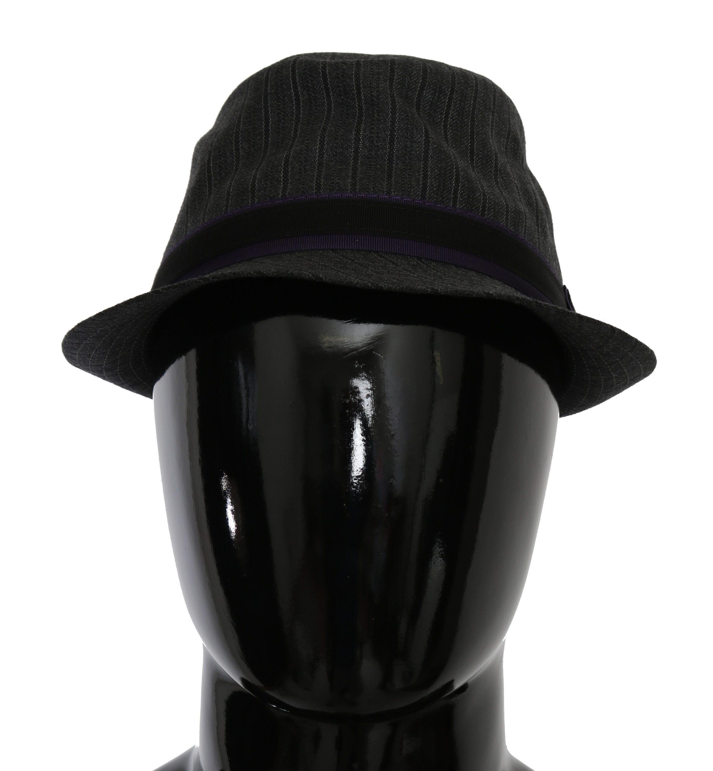 Dolce & Gabbana Men's Striped Fedora Casual Hat Gray HAT9061 - 57 cm|S