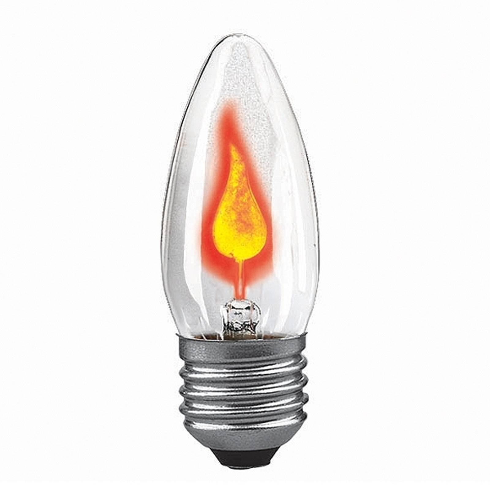 E27 3W stearinlyspære med blafrende flamme klar