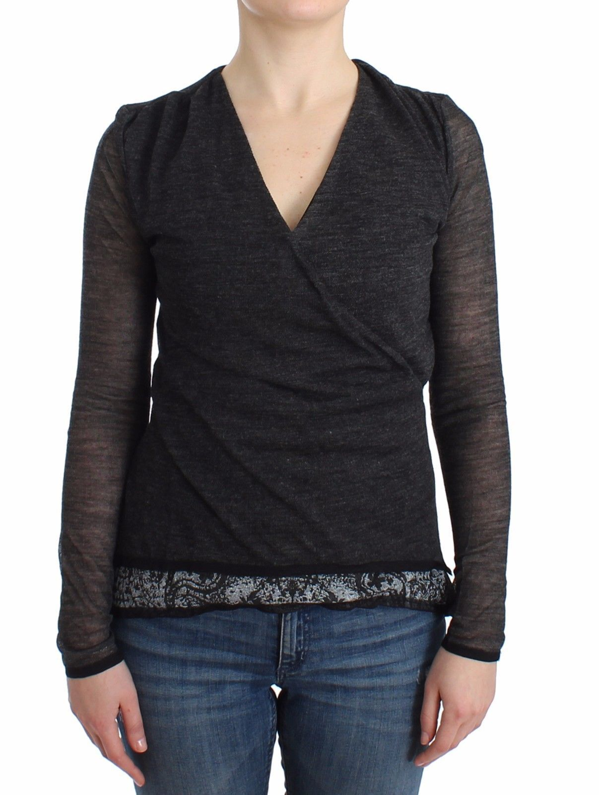 Ermanno Scervino Women's Long Sleeve Sweater Grey SIG11865 - IT44 | M