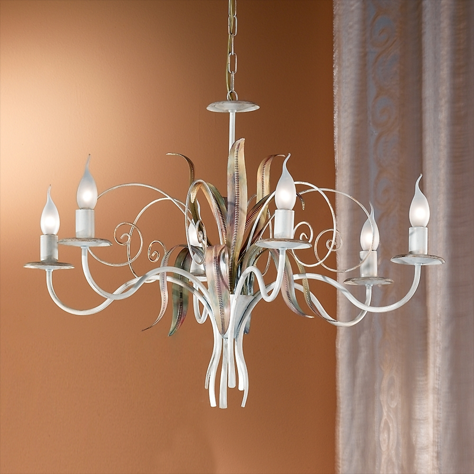Florentinen kattokruunu FLORA 6-lamp., norsunluu