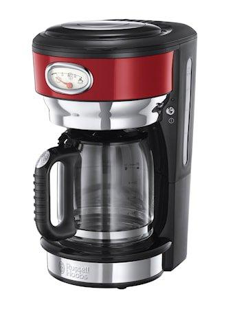 Retro Kaffetrakter Glass 10 kobber, Rød