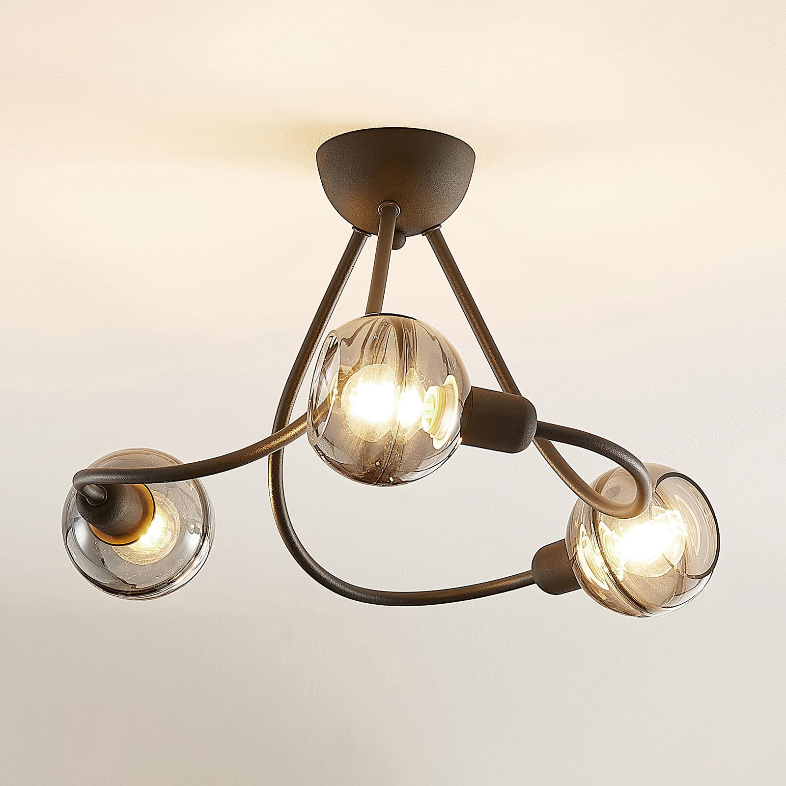 Lucande Ably -kattovalo, savulasia, 3-lamppuinen