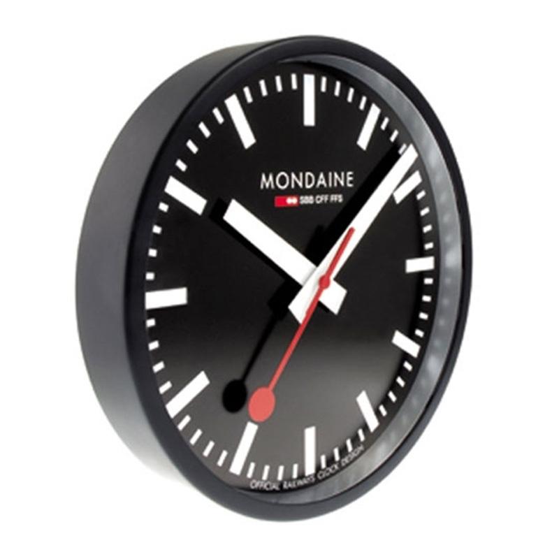 Mondaine Black Wall Clock Black Dial MON132