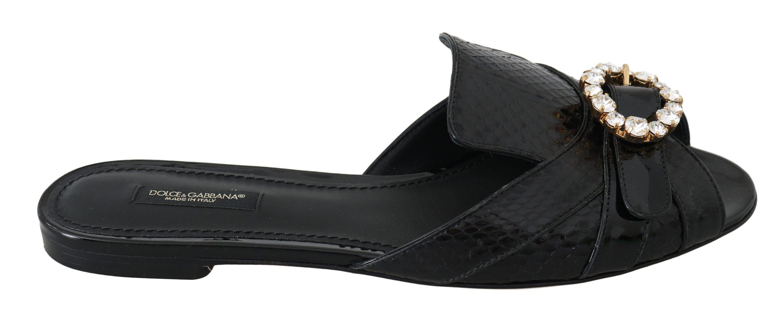 Dolce & Gabbana Leather Flats Black LA6293-36 - EU36/US5.5
