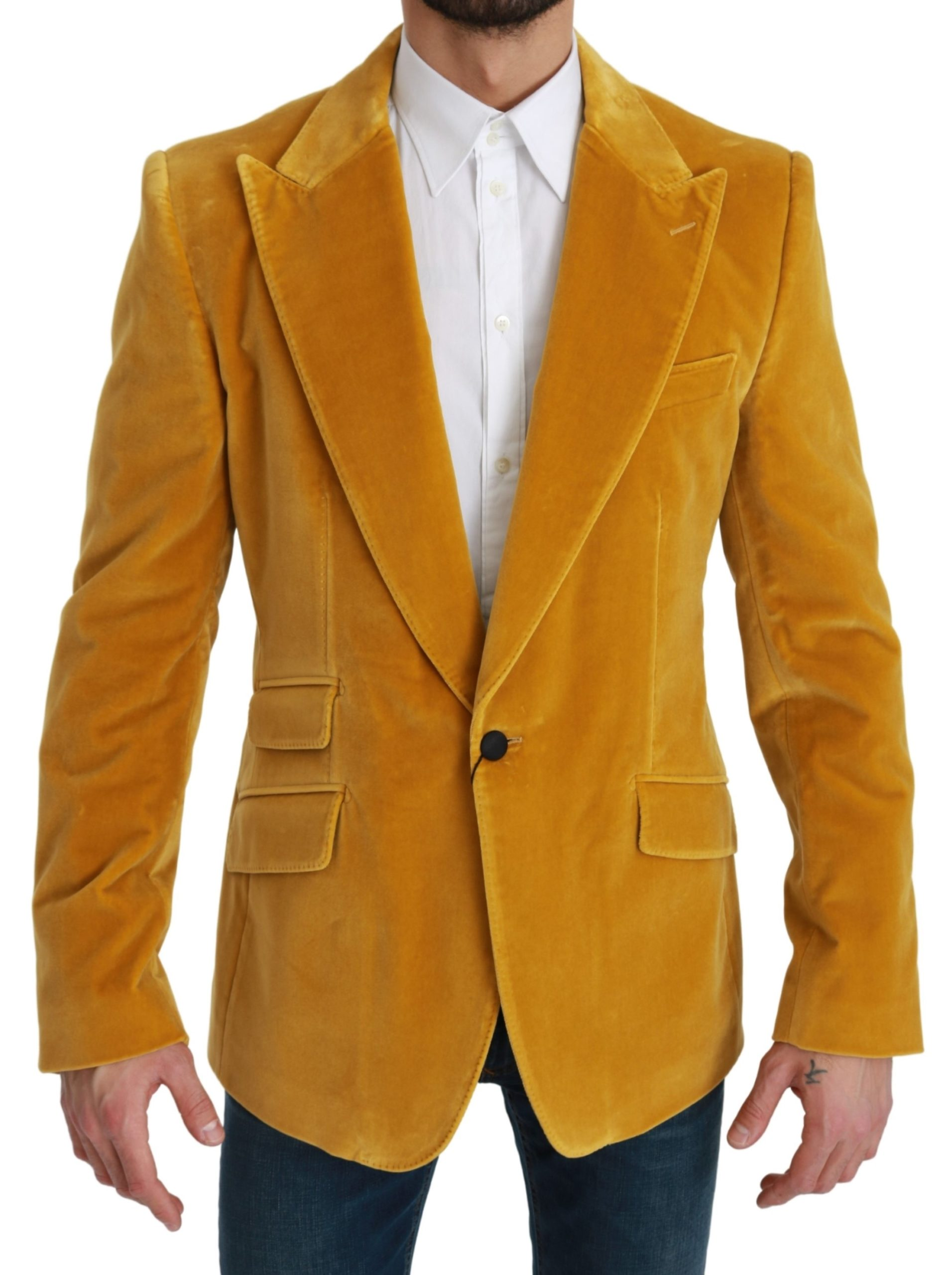 Dolce & Gabbana Men's Velvet Slim Fit Jacket SICILIA Blazer Yellow KOS1787 - IT52   L