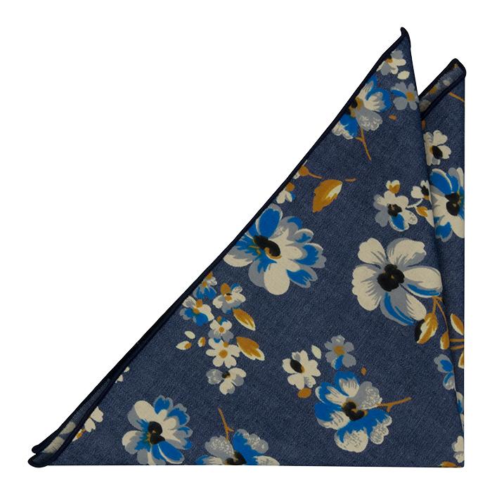 Bomull Lommetørkler, Denimblått med blomster i hvitt, kobolt og sennep