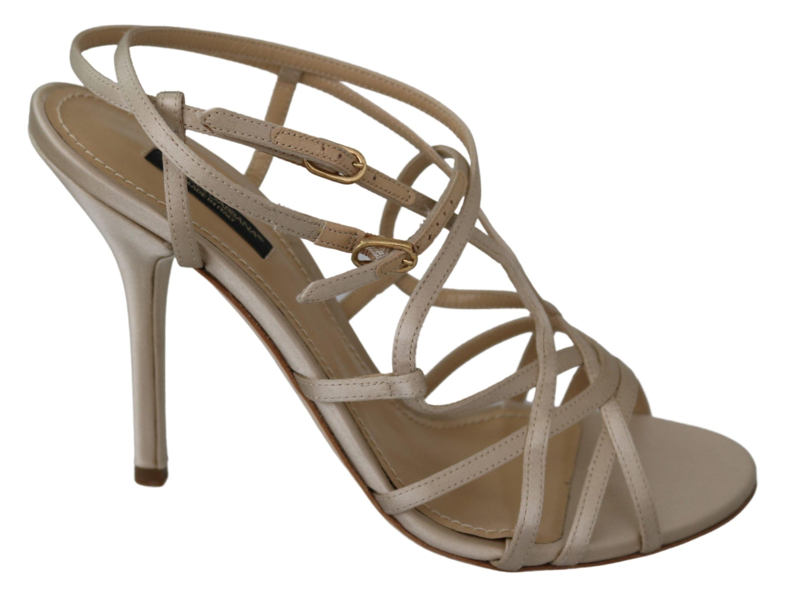 Dolce & Gabbana Women's Nude Ankle Strap Heels Beige LA7719-39 - EU39/US8.5
