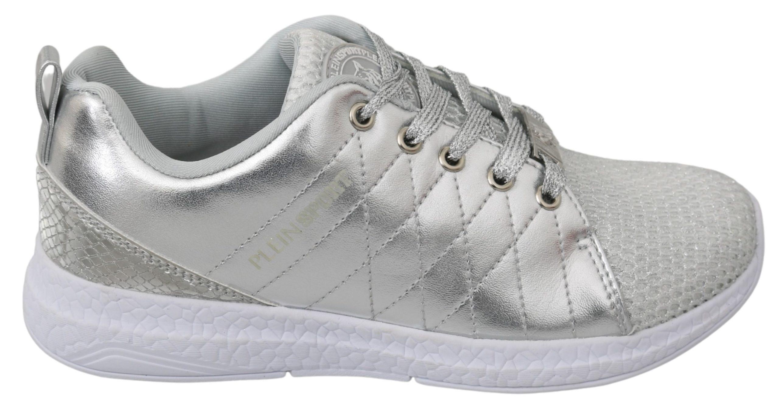 Philipp Plein Women's Gisella Silver Polyester Trainer Silver LA7174 - EU37/US6.5
