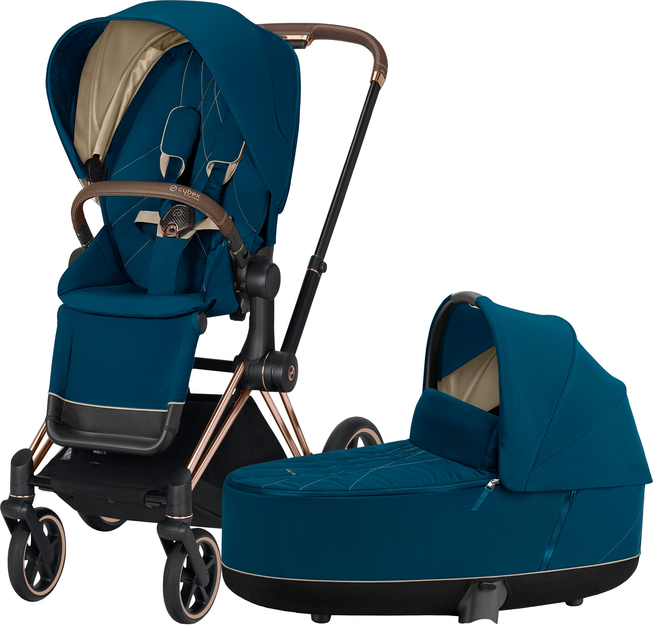 Cybex Priam Duovagn, Mountain Blue/Rose Gold