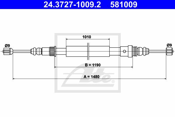 Käsijarruvaijeri ATE 24.3727-1009.2