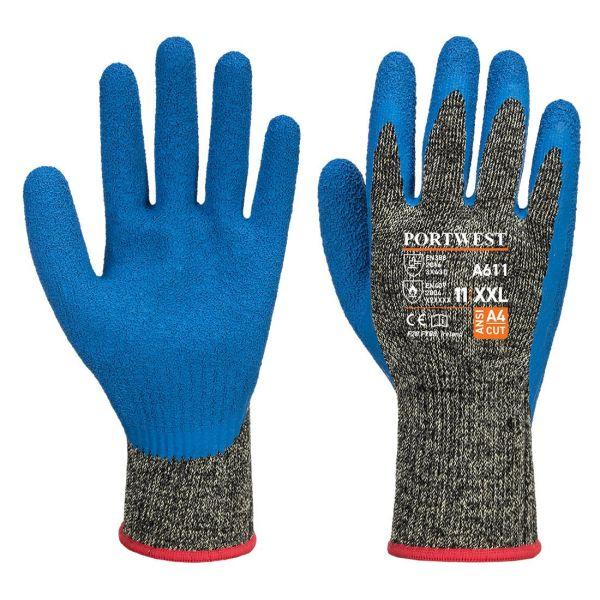 Portwest Aramid HR Cut Handske svart/blå, latex S
