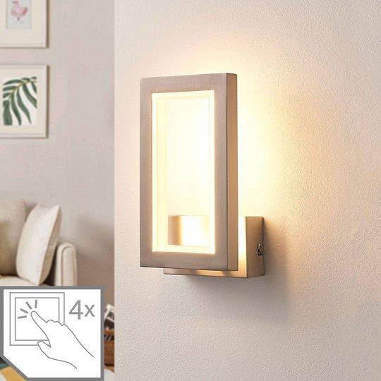 Kulmikas LED-seinävalo Heriba, matta nikkeli