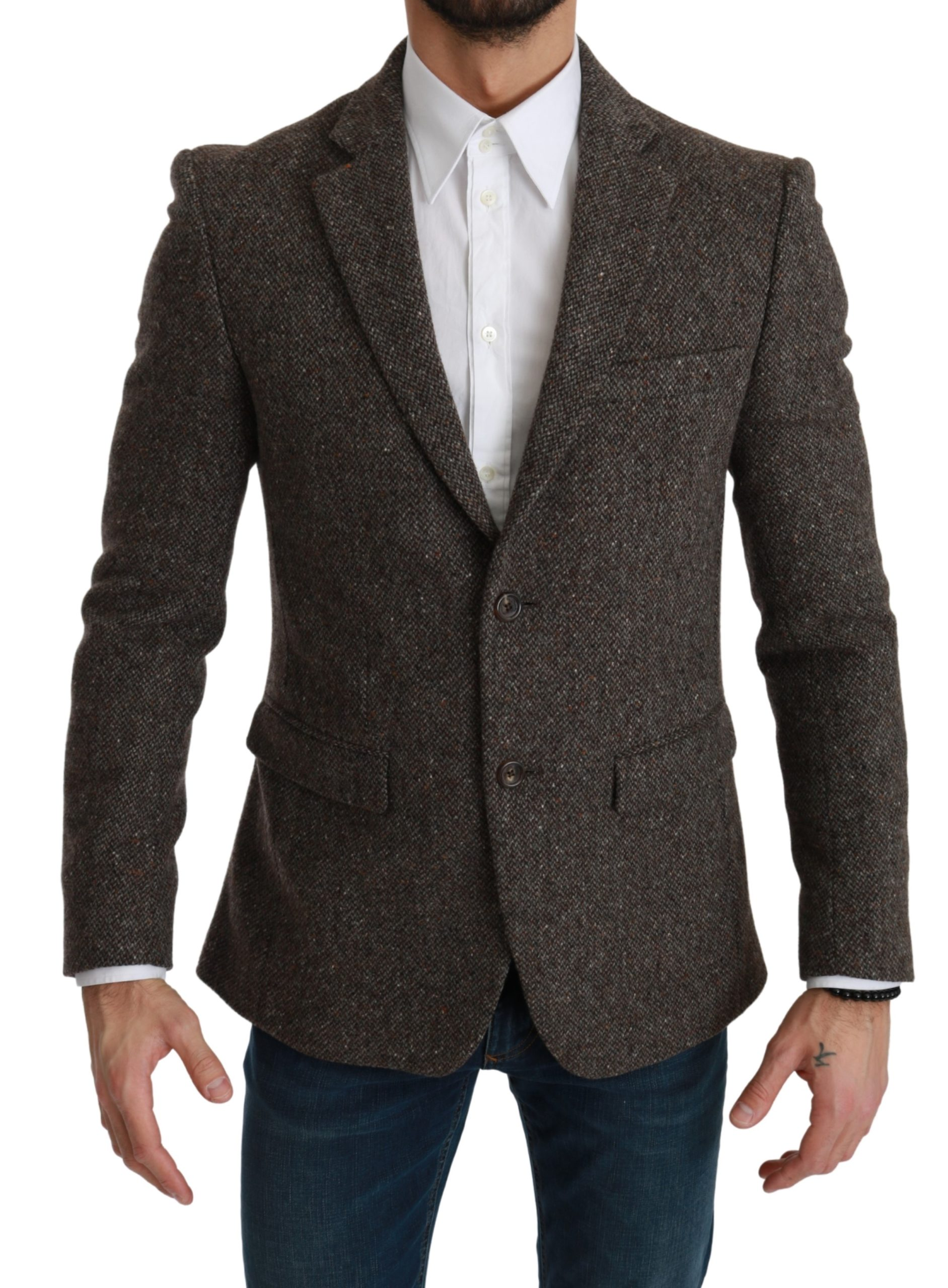 Dolce & Gabbana Men's Formal Coat Wool Blazer Brown KOS1783 - IT48 | M