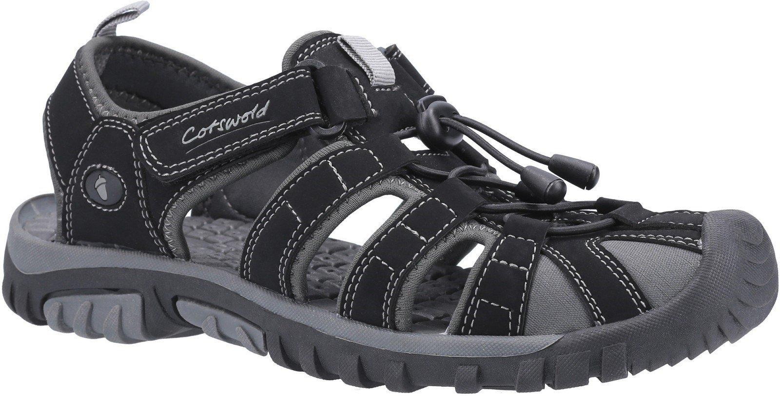 Cotswold Men's Sandhurst Touch Fastening Sandal Various Colours 30160 - Black/Grey 7