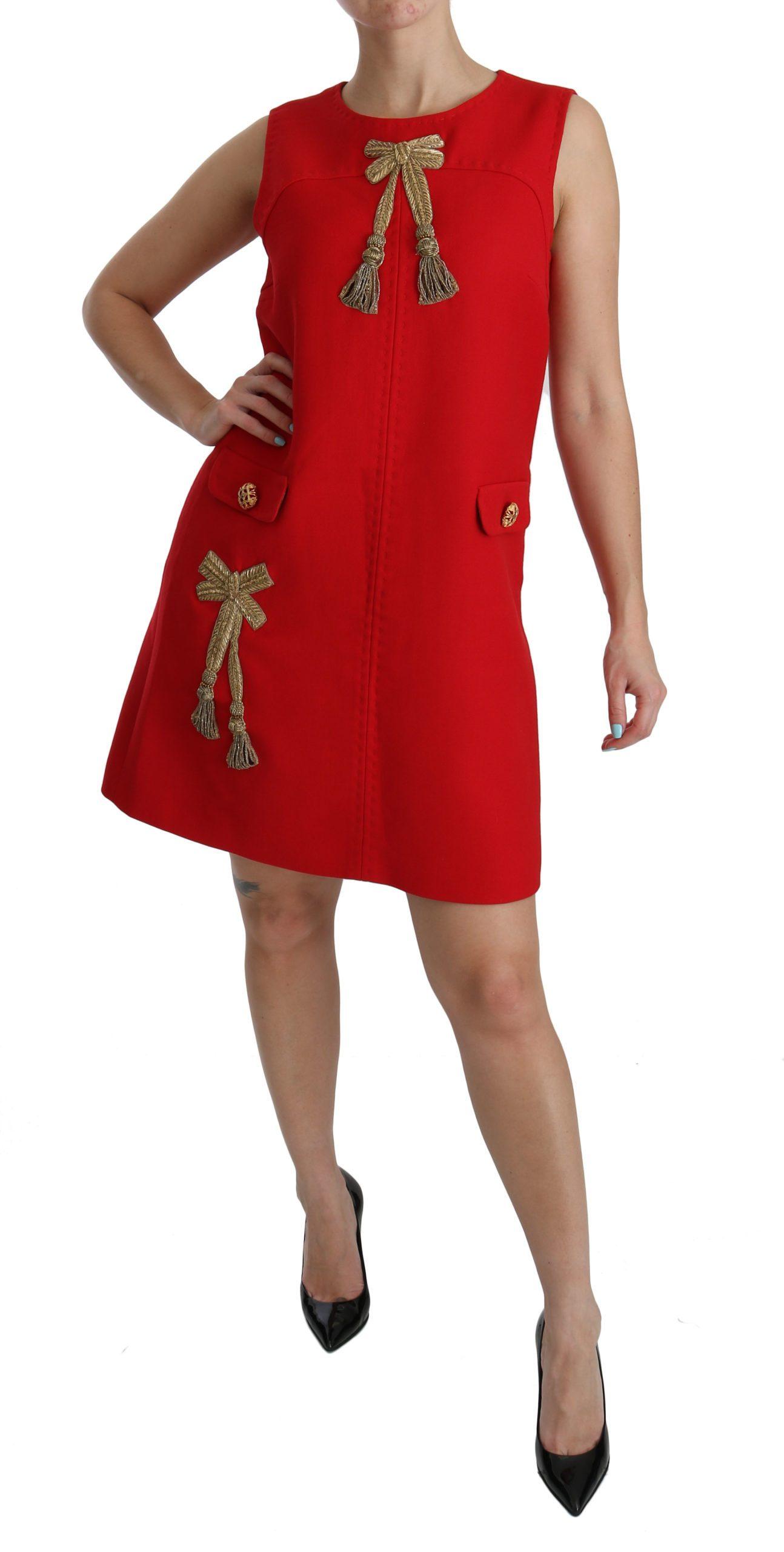 Dolce & Gabbana Women's Sheath Tassel Sleeveless Mini Dress Red DR2076 - IT46 XL