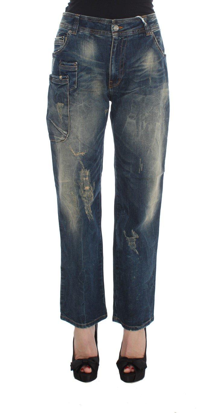 John Galliano Women's Cotton Boyfriend Fit Cropped Jeans Blue SIG30179 - W26