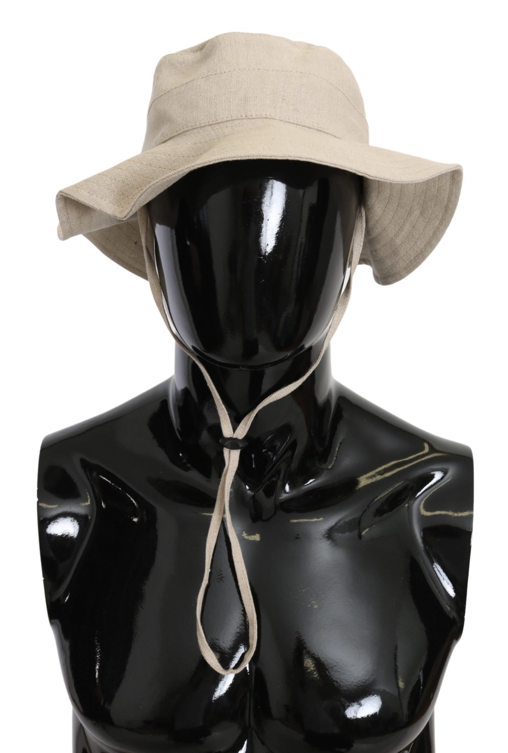 Dolce & Gabbana Men's Linen Solid Boonie Hat Beige HAT9097 - 58 cm|M