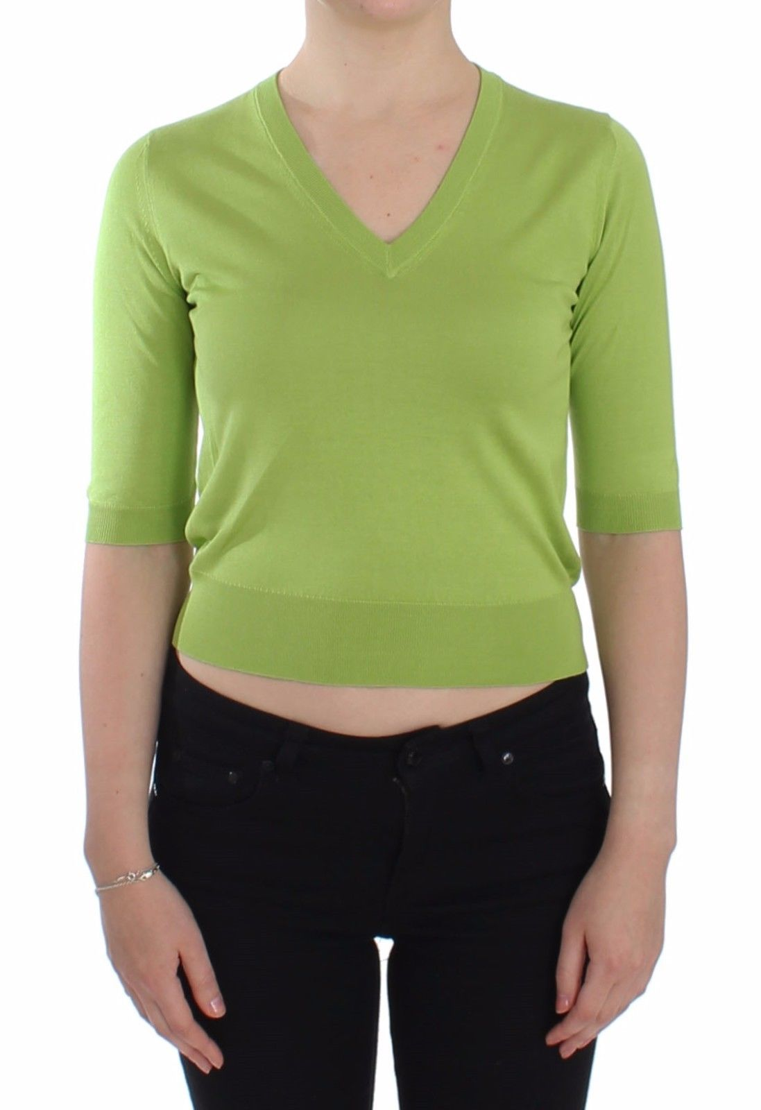 Green Wool V-neck Pullover Sweater Top - IT38   S