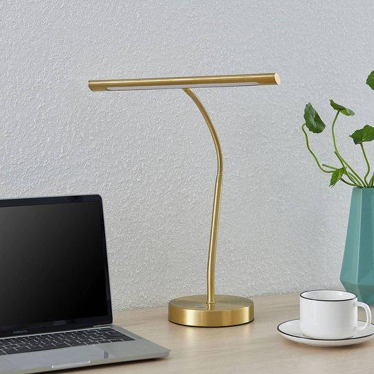 Lindby Nikali LED-skrivebordslampe, matt messing