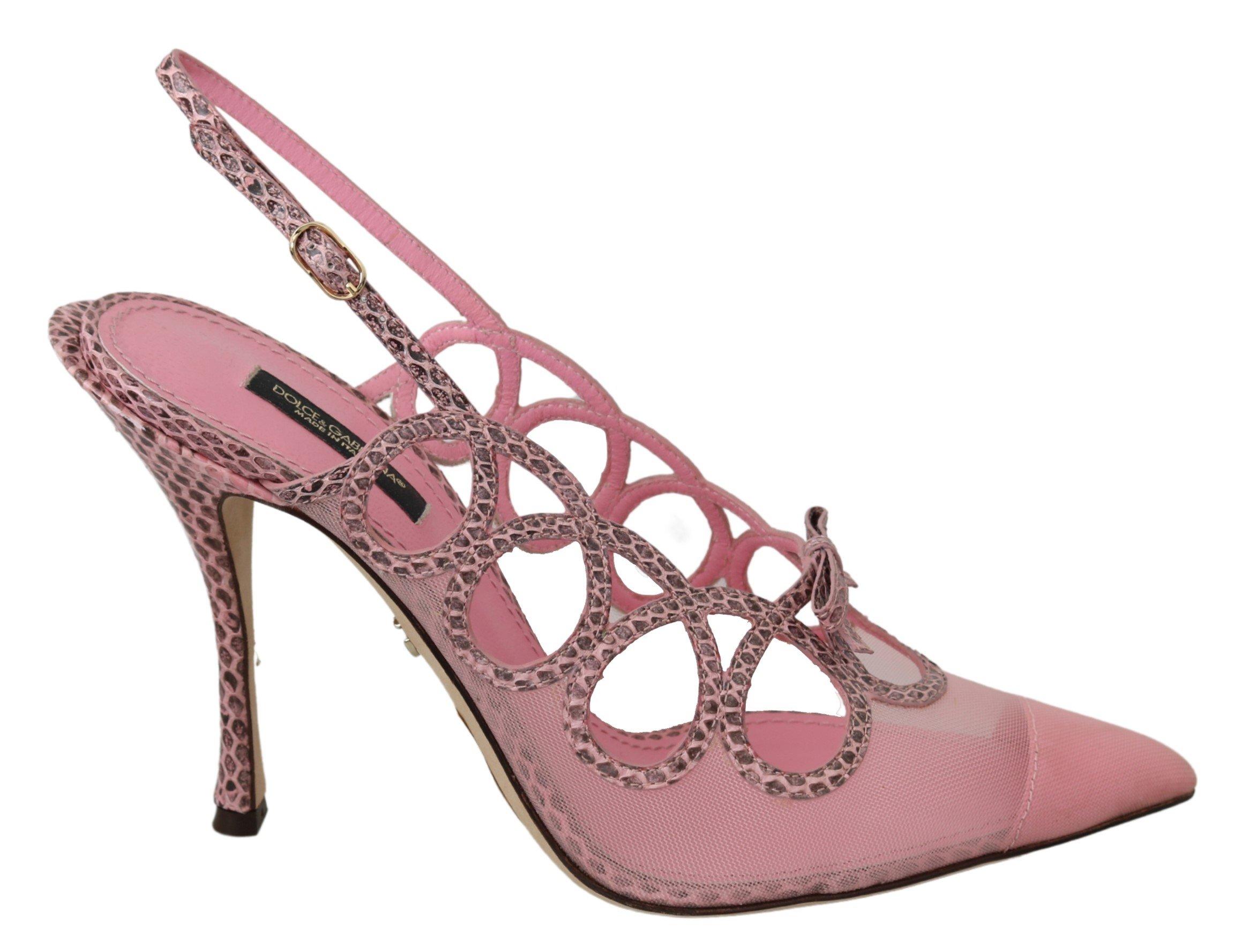 Dolce & Gabbana Women's Slingback Slim Ayers Sandal Pink LA6926 - EU39/US8.5