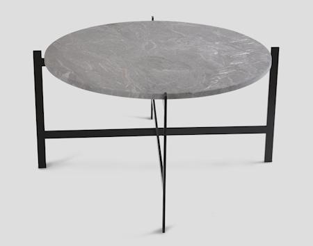 Deck table large - grå marmor / svartlakkert stamme