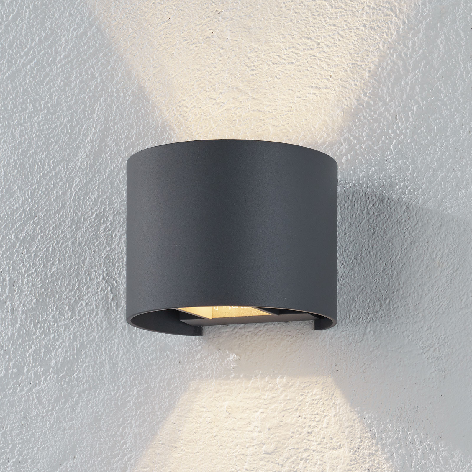 Xio-LED-seinävalaisin, leveys 13 cm, harmaa