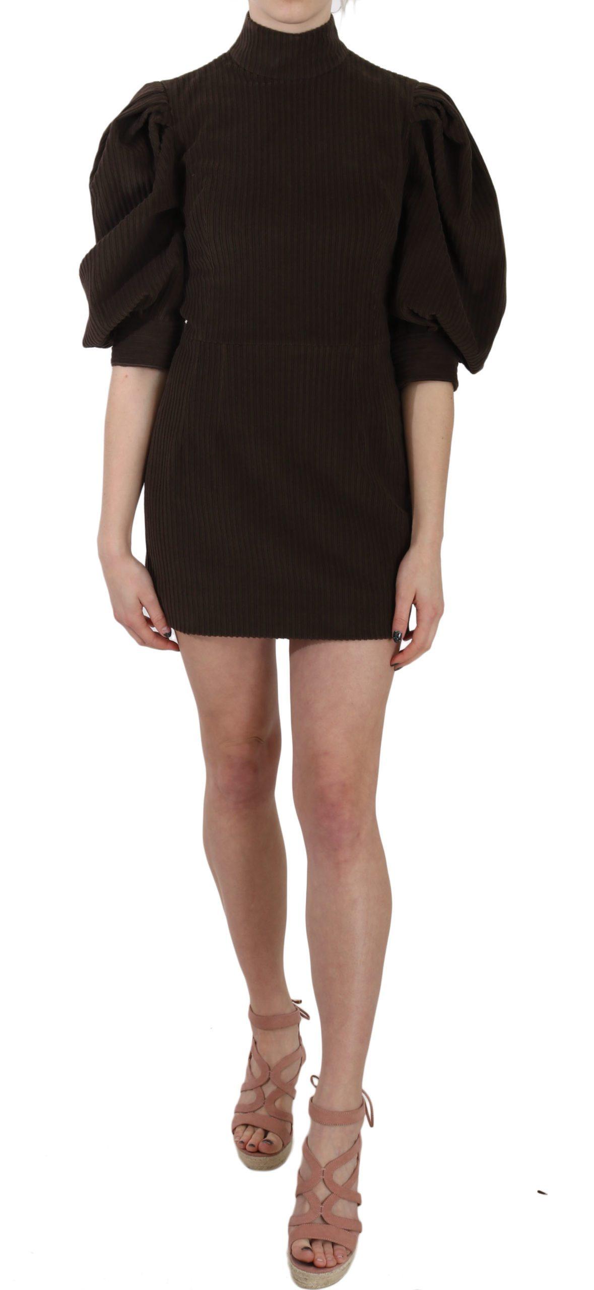 Dolce & Gabbana Women's Corduroy Bodycon Cotton Mini Dress Brown TSH3257 - IT40|S